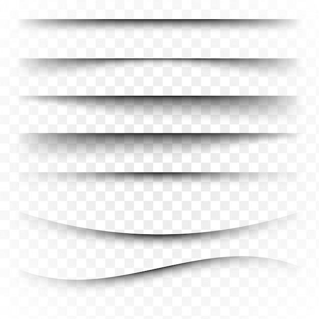 Page divider with transparent shadows isolated. pages separation  set. transparent shadow realistic illustration Premium Vector