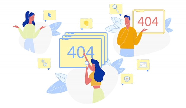 Page not found 404 error and puzzled people set Premium Vector