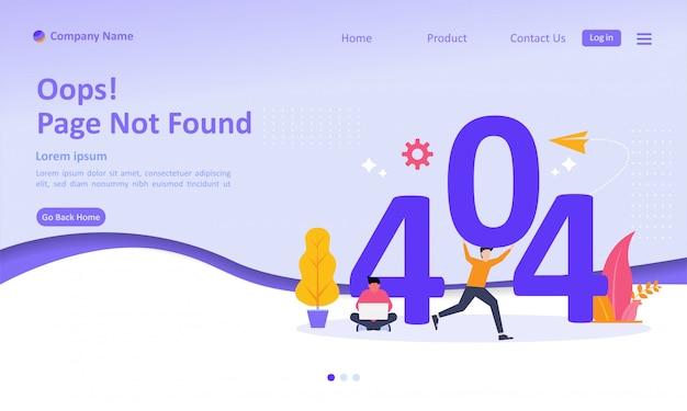 Page not found error 404 landing page Premium Vector