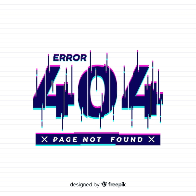 Page not found glitch background Free Vector