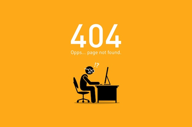 Page not found. vector artwork depicts a funny and humorous scenario with human stick figure for website http request error. Premium Vector