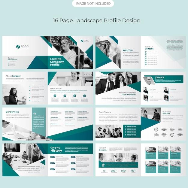 Page landscape brochure design Premium Vector