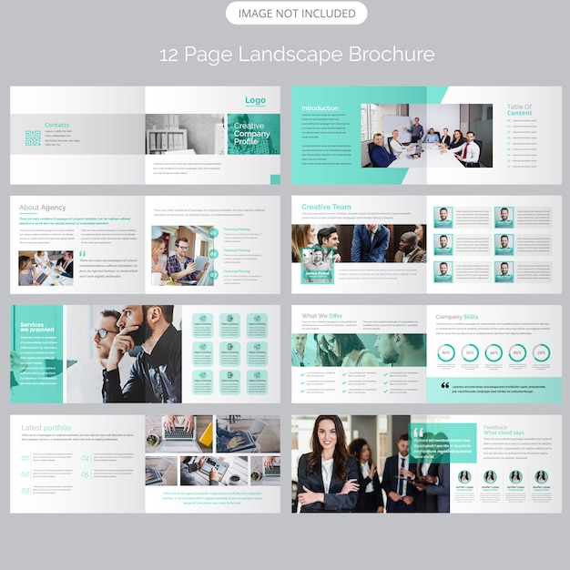 Page landscape company profile brochure template Premium Vector