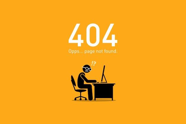 Страница не найдена. векторное изображение представляет собой забавный и юмористический сценарий с человеческой фигуркой для ошибки http-запроса веб-сайта. Premium векторы