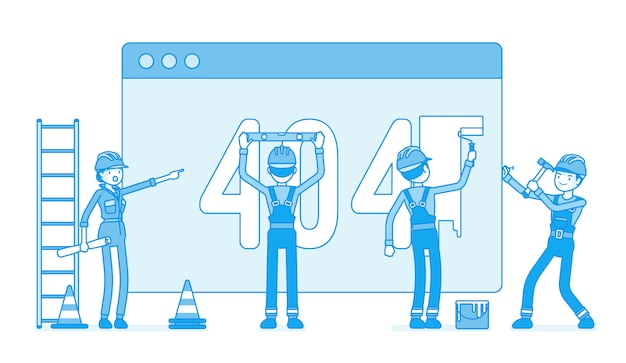 Page with 404 code under construction Premium Vector