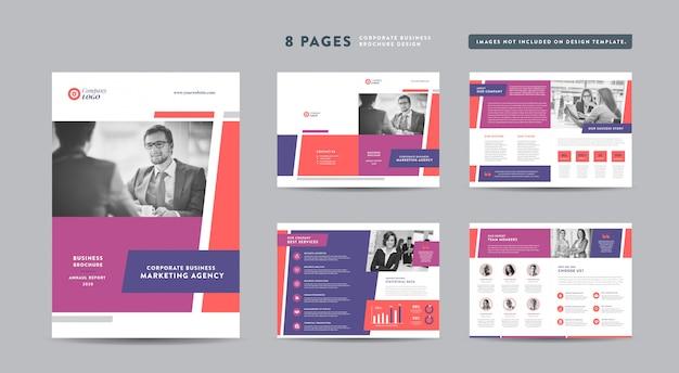 ページビジネスパンフレットデザイン|アニュアルレポートと会社概要|小冊子とカタログのデザインテンプレート Premiumベクター