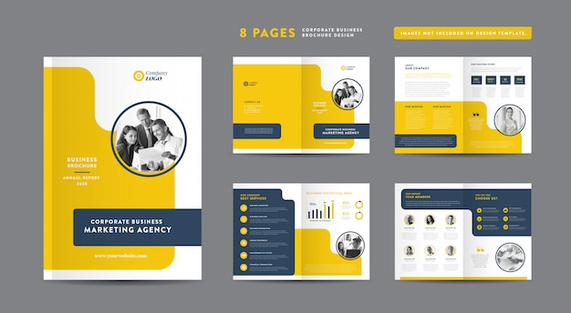 Pages business brochure design | annual report and company profile | booklet and catalog design template Premium Vector
