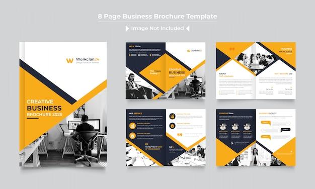 Pages corporate brochure design template Premium Vector