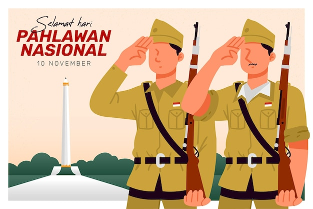 Pahlawan heroes' day background with soldiers Free Vector
