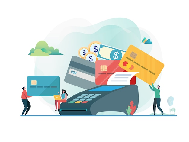 Paid by credit card. Premium Vector