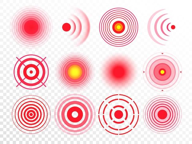 Болевые круги. красное болезненное целевое пятно, целевая группа лекарственного средства и суставные болевые точки изолированы Premium векторы