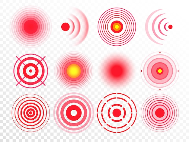 Pain circles. red painful target spot, targeting medication remedy circle and joint pain spots isolated  set Premium Vector