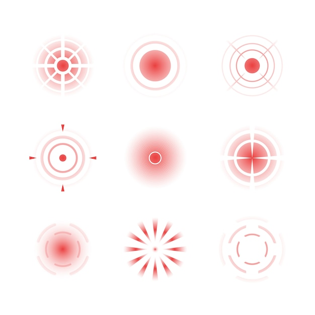 Pain red rings. headache bones painful target vector radial shapes Premium Vector