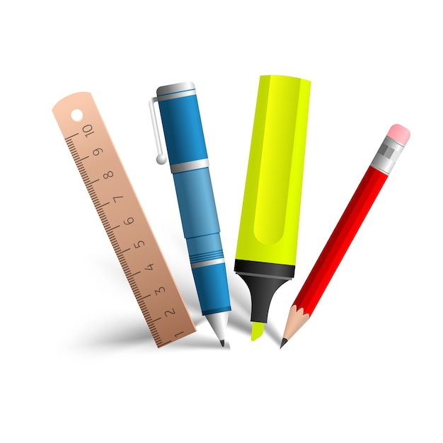 青のペン、赤の鉛筆、黄色のマーカー、白の木製の線で構成されるペイントとライティングツールのコレクション 無料ベクター
