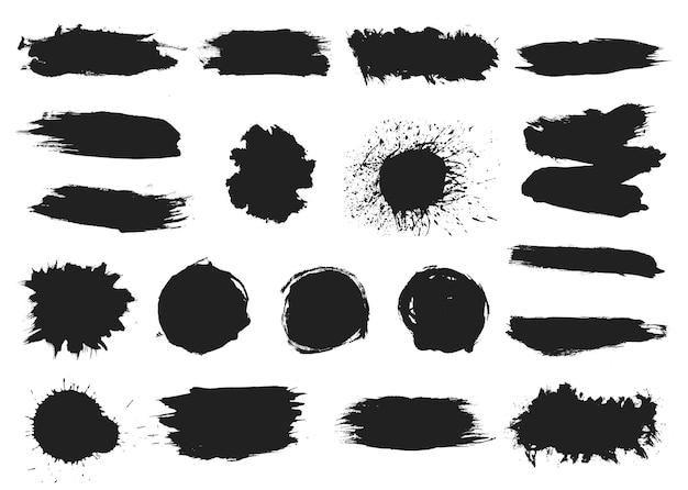 Нарисуйте черные капли. брызги чернил, брызги граффити. абстрактные текстуры гранж, набор векторных силуэтов пятно. иллюстрация брызги краски, гранж силуэт Premium векторы