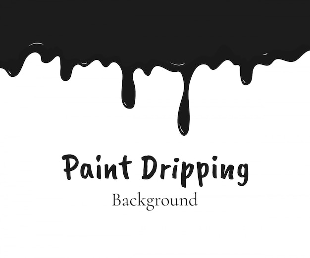 Paint dripping, black liquid or melted chocolate drips Premium Vector