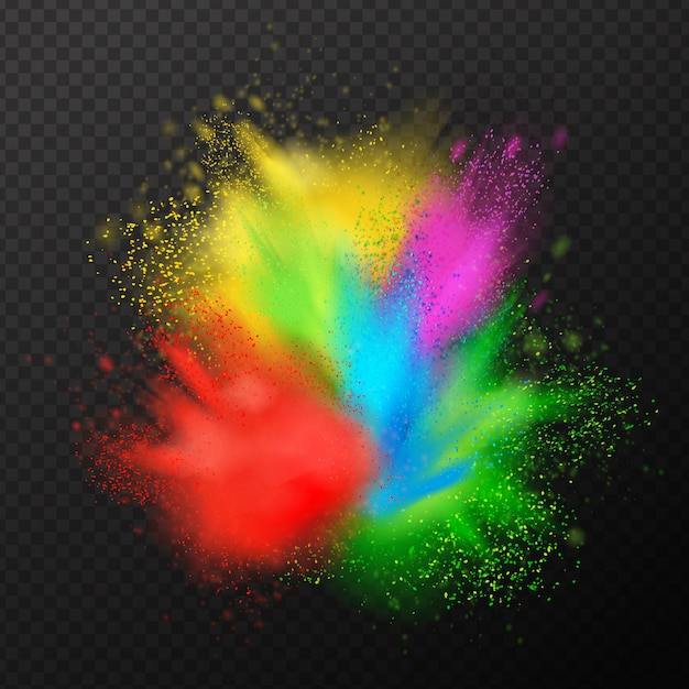 Paint explosion realistic composition Free Vector