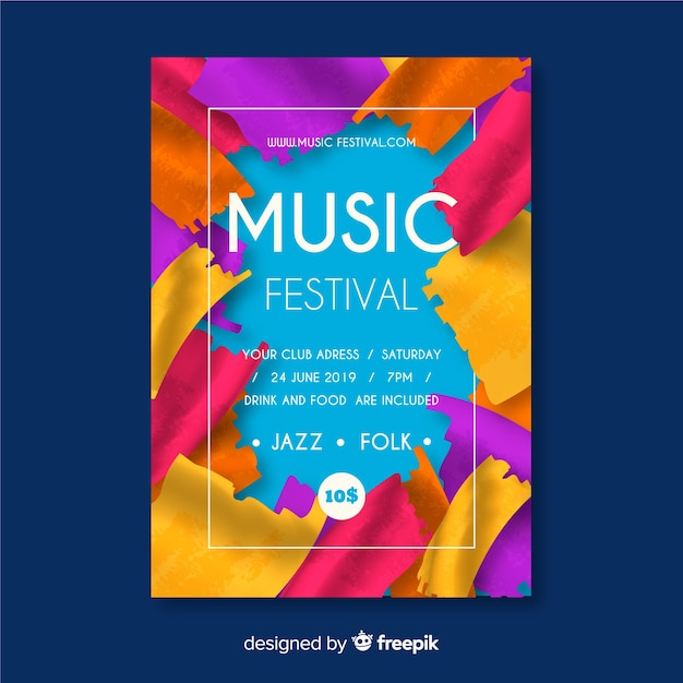 Paint music festival poster template Free Vector