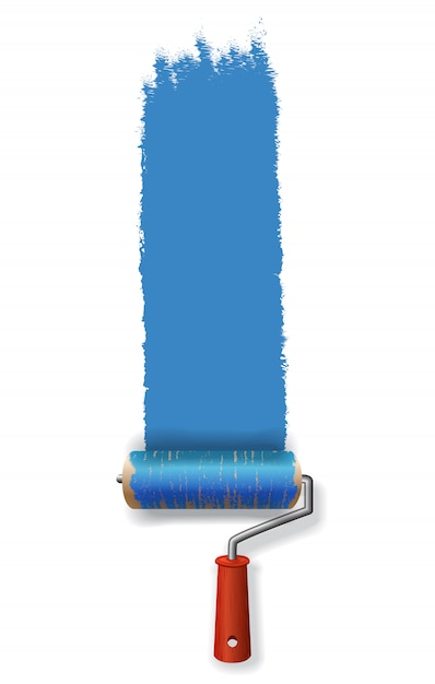 Paint roller leaving stroke of blue paint. for banners, posters, leaflets and brochure Free Vector