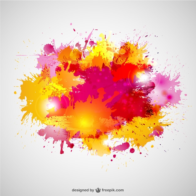 Paint splashes in yellow and pink colors Vector | Free Download