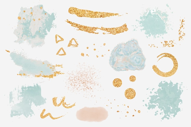 Paint splatter design elements set vector Free Vector