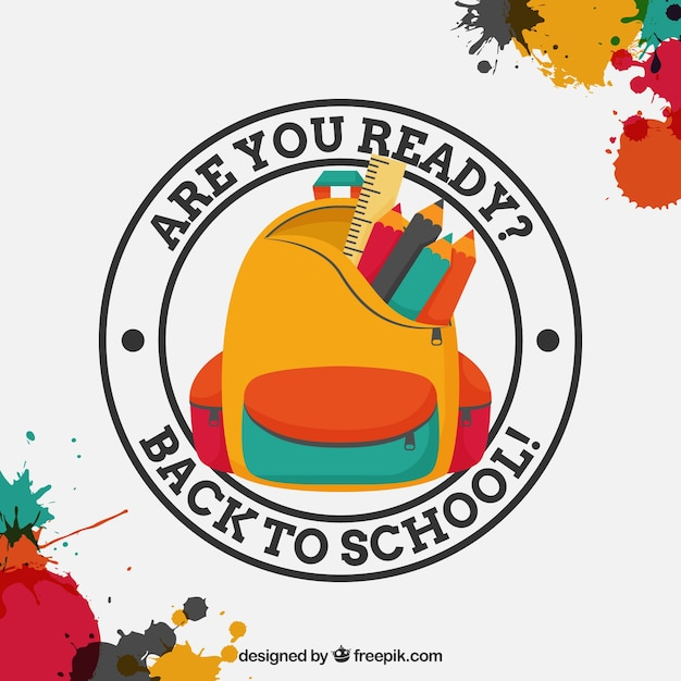 Paint stains background with back to school badge Free Vector
