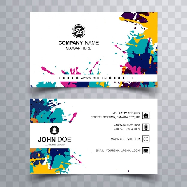 Paint stains business card Free Vector