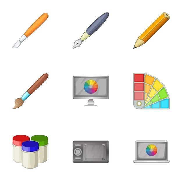 페인트 도구 인터페이스 아이콘 세트, 만화 스타일 프리미엄 벡터
