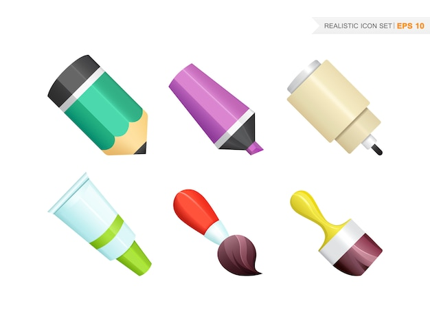 Paint and writing realistic tools collection isolated on the white Free Vector
