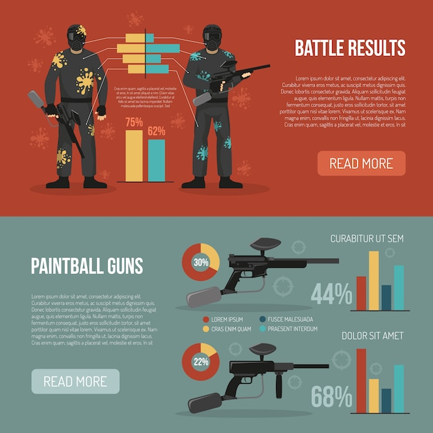 Paintball banners set Free Vector
