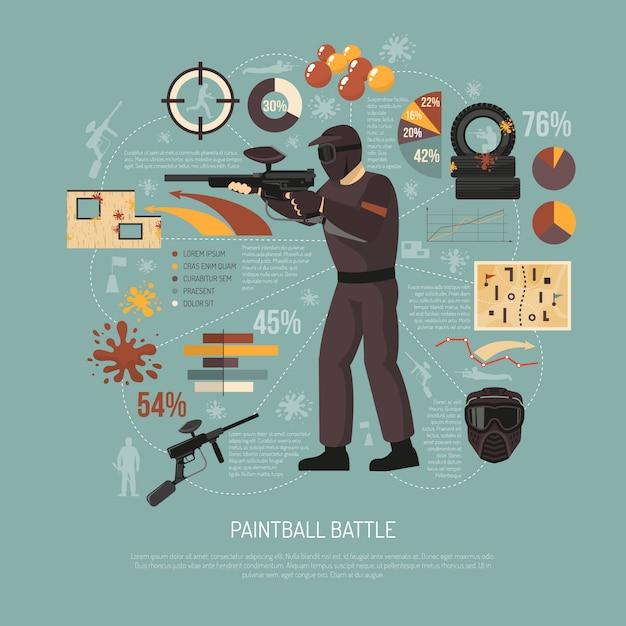 Paintball battle illustration Free Vector