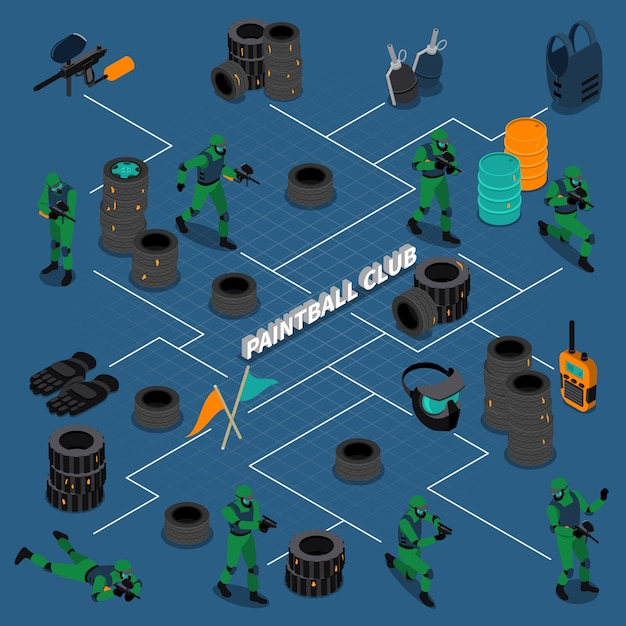 Paintball club isometric infographics Free Vector