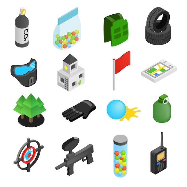 Paintball game isometric 3d icons set Premium Vector