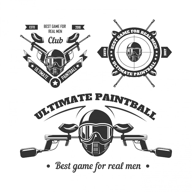 Paintball game sport club logo templates of gamer shooting target or paint ball gun Premium Vector