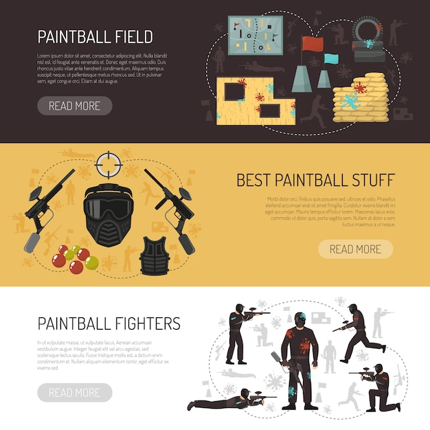 Paintball horizontal banners Free Vector