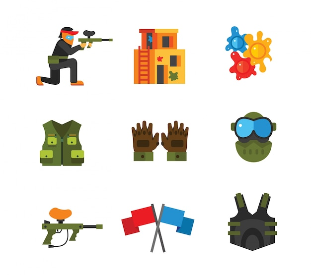 Paintball icon collection Free Vector