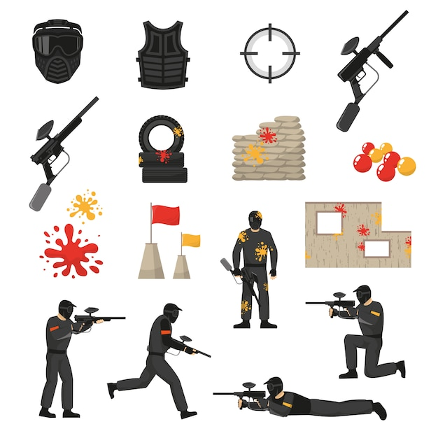 Paintball icons set Free Vector