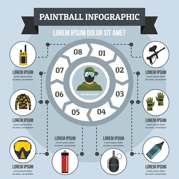 Paintball infographic concept, flat style Premium Vector