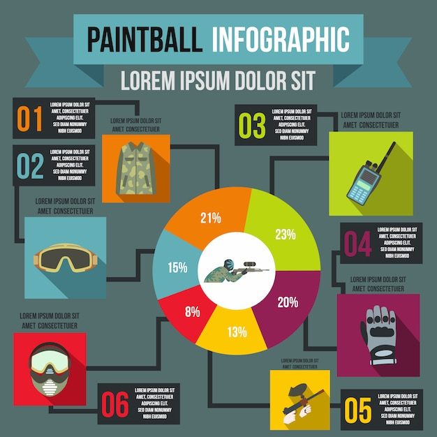 Paintball infographic in flat style for any design Premium Vector