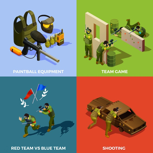 Paintball team design concept Free Vector