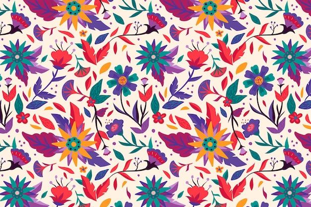 美しいエキゾチックな花柄を描いた 無料ベクター