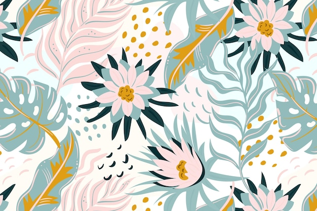 그린 된 화려한 이국적인 꽃 패턴 무료 벡터