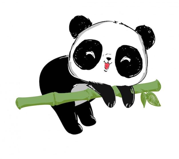 Painted cute panda bear and bamboo illustration. Premium Vector