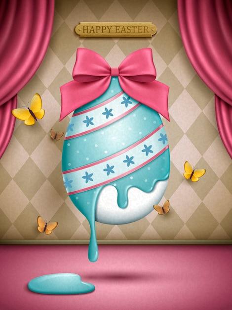 ピンクのリボンの装飾、ステージ背景イラストと塗られたイースターエッグ Premiumベクター