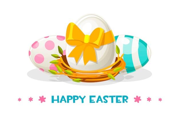 巣の中の幸せなイースターのために塗られた卵 無料ベクター