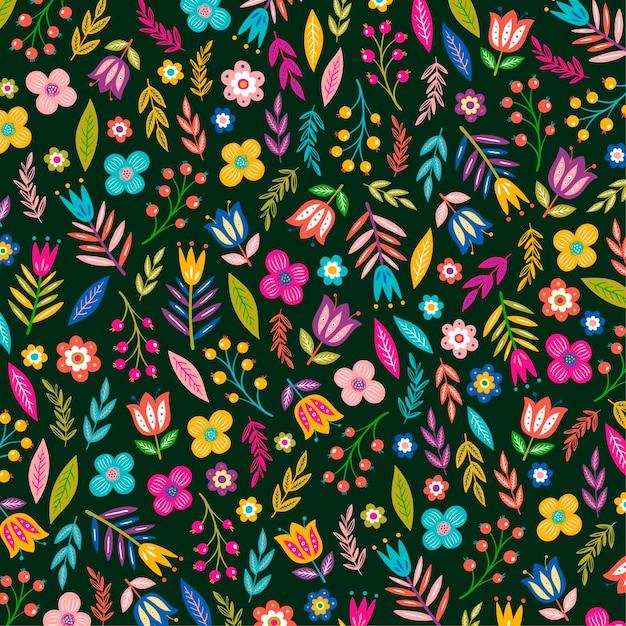 그린 이국적인 꽃과 나뭇잎 패턴 무료 벡터