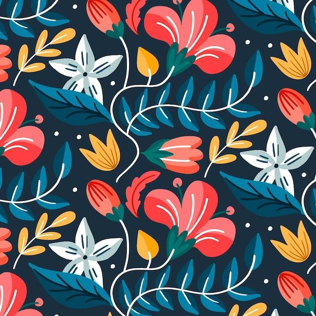 塗られたエキゾチックな葉と花のパターン 無料ベクター