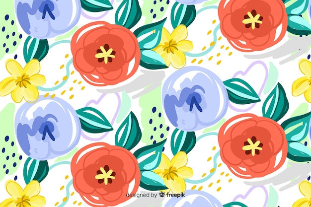 Painted floral background with abstract shapes Free Vector