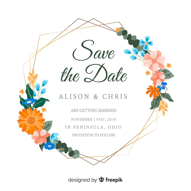Painted floral frame wedding invitation Free Vector