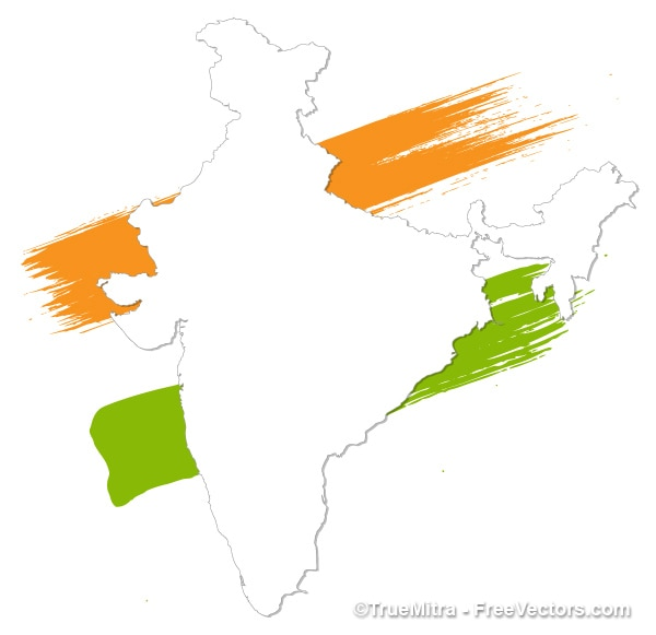 Good Painted India White Map Vector Free Vector